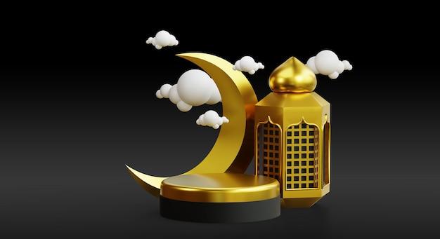 Eid al adha-podium voor promotie met 3d-gouden realistische islamitische achtergrond