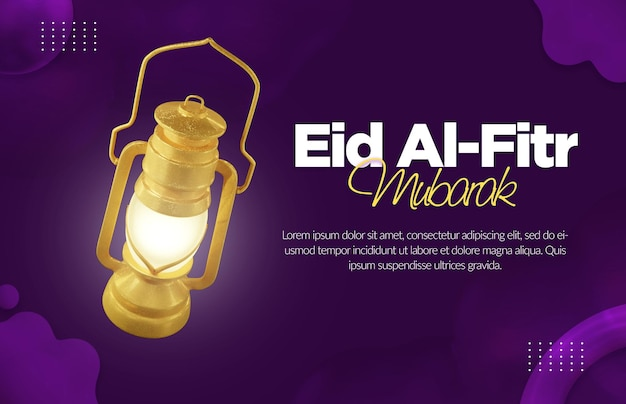 Eid al fitr-bannermalplaatje met gouden lantaarn 3d-rendering