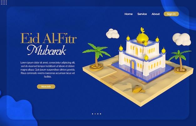 Eid al fitr-bestemmingspagina met 3d-weergave van moskeeën