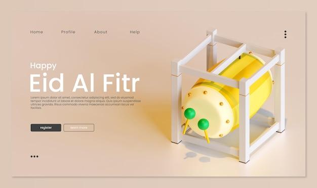 Eid al fitr-bestemmingspagina-sjabloon met bedug 3d-rendering illustratie