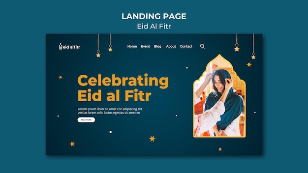 Eid al-fitr-bestemmingspagina-sjabloon met foto