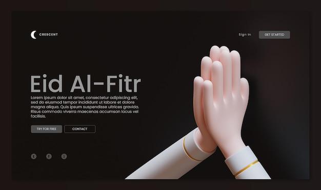 Eid al fitr-bestemmingspagina-sjabloon met handgebaar 3d-rendering