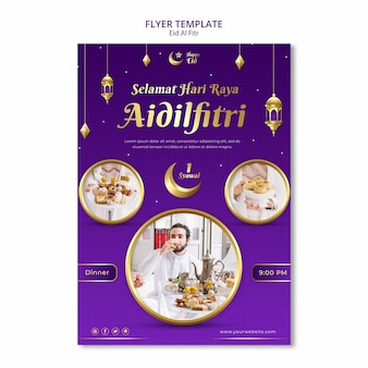 Eid al fitr postersjabloon met verschillende afbeeldingen