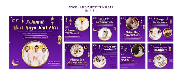 Eid al fitr postsjabloon voor sociale media