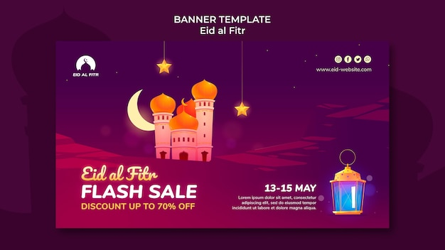 Eid al-fitr-sjabloon voor spandoek