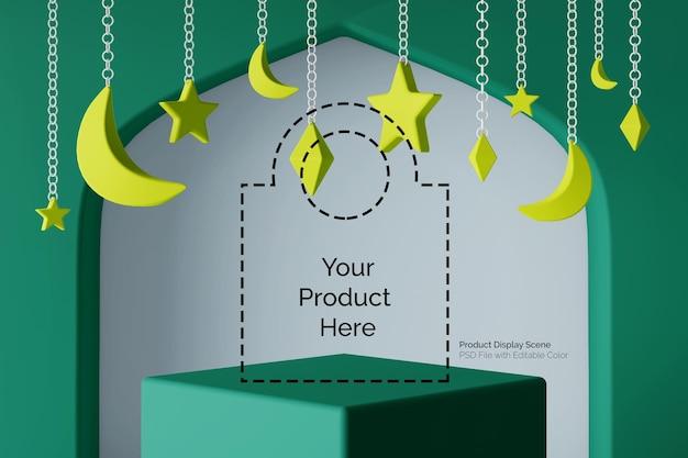 Eid ramadhan islamitische thema realistische vierkante voetstuk productweergave 3d-scène