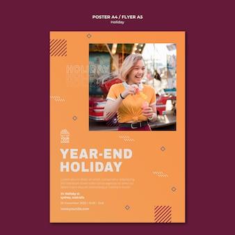 Einde van het jaar vakantie poster afdruksjabloon