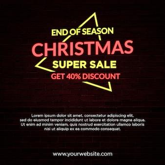 Einde van seizoen kerstmis verkoop banner neon light style