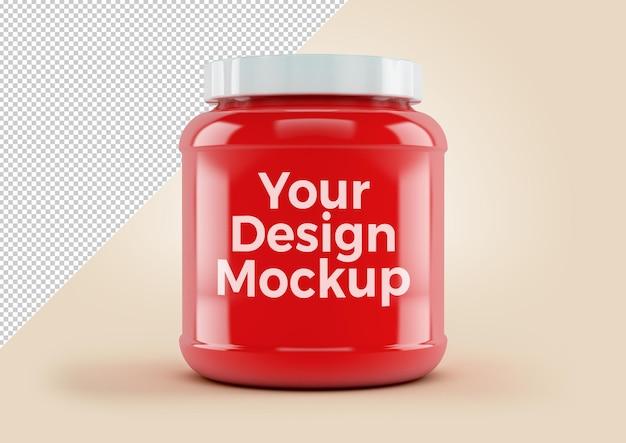 Eiwitpot rood plastic supplement voor fitnessvoeding, mockup