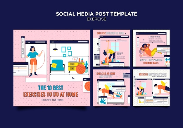 Ejercicio en casa publicación en redes sociales