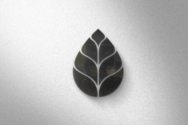 Elagant 3d glazen logo mockup op de muur