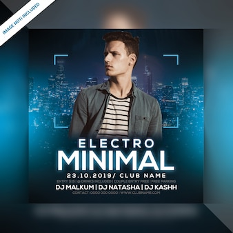 Electro minimal night party flyer cuadrado
