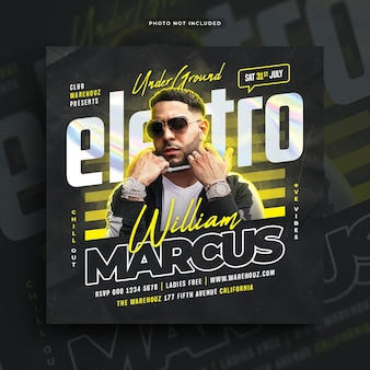 Electro muziek club dj feest flyer sociale media post webbanner