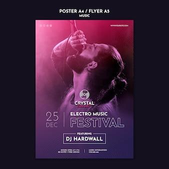 Electro muziekfestival poster sjabloon