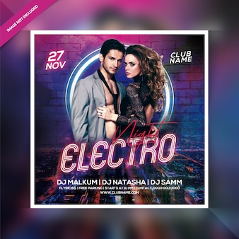 Electro nachtfeest flyer