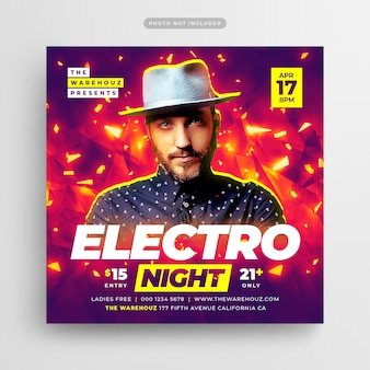 Electro night party flyer publicación en medios sociales y banner web
