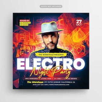 Electro night party flyer social media post en webbanner