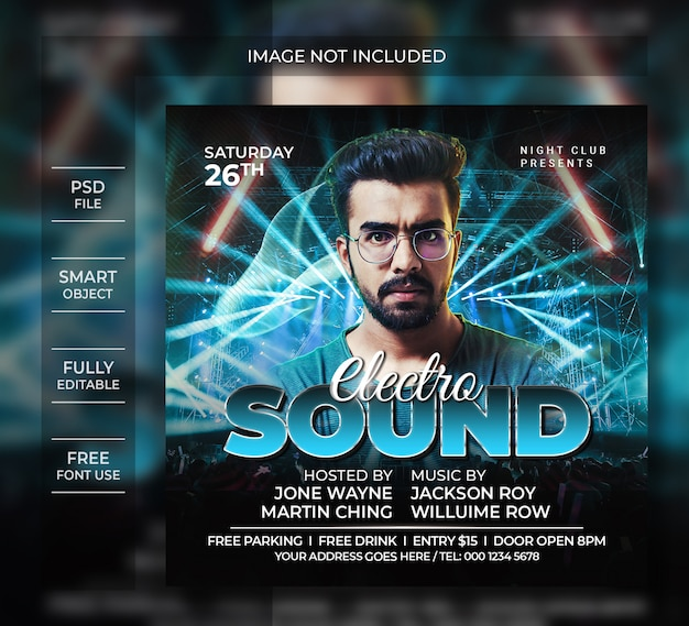 Electro sound party flyer template of social media post