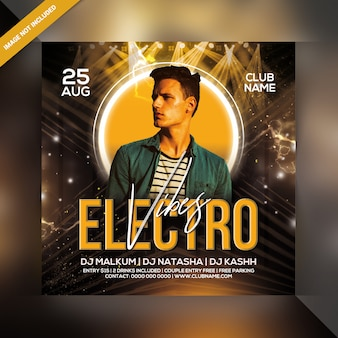 Electro vibes party flyer