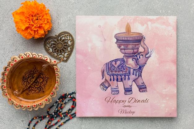Elefante de acuarela de maqueta de festival de diwali feliz endecha plana