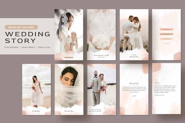 Elegancia minimalista acuarela historia de boda diseño de banner de redes sociales plantilla de publicación de instagram