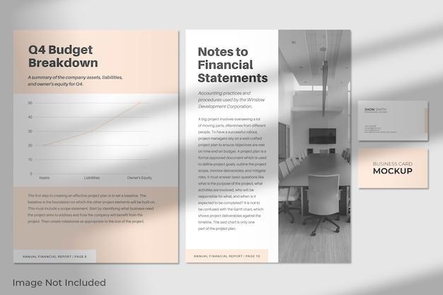 Elegant a4-briefpapier en visitekaartjesmodel met schaduw