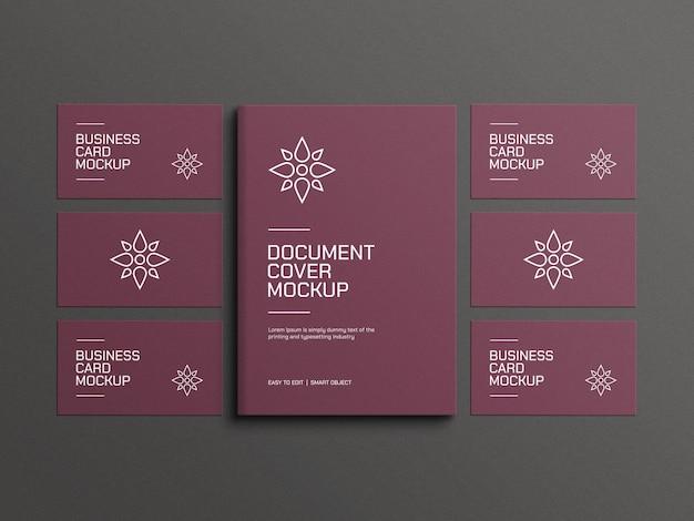 Elegant a4-document met mockup voor visitekaartjes