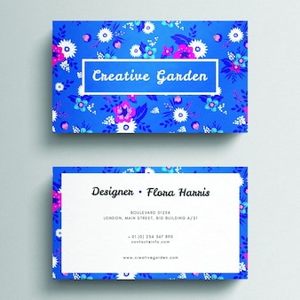 Elegant blauw bloemenadreskaartjemodel