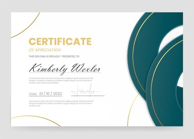 Elegant certificaat van waardering sjabloon