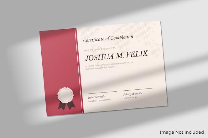 Elegant certificaatmodel met schaduw