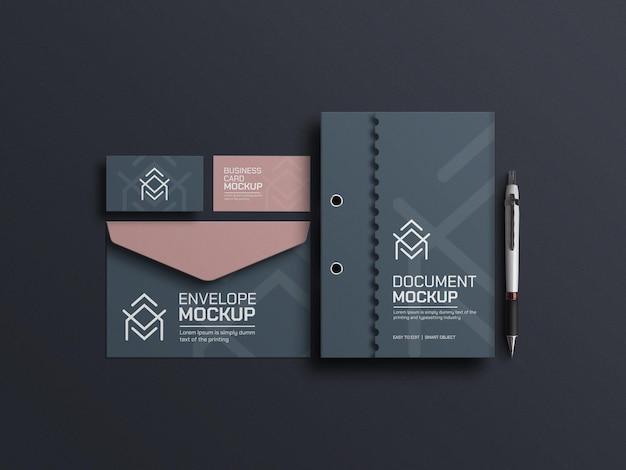 Elegant document met mockup voor enveloppen