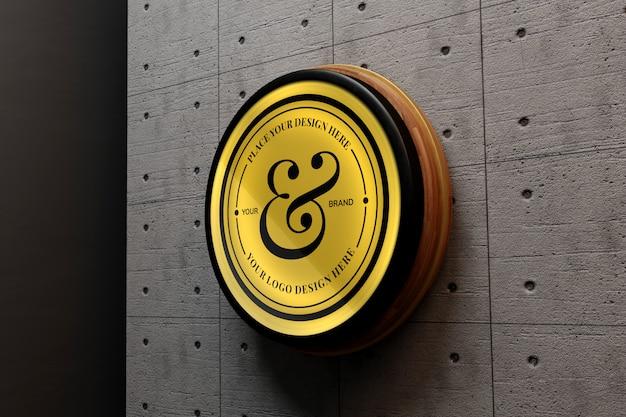 Elegant logo mockup op betonnen muur