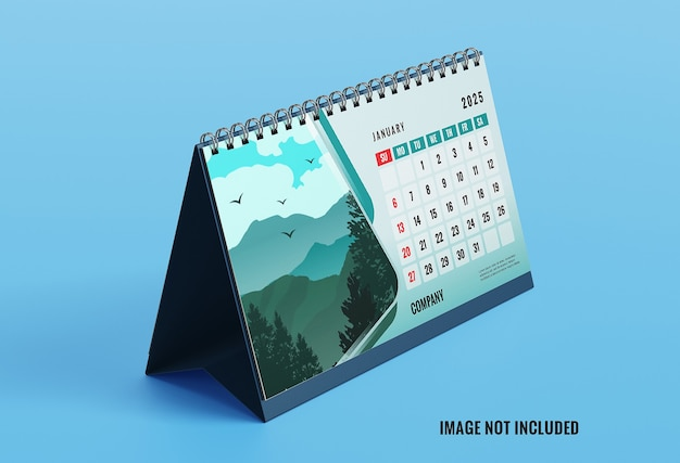 Elegant mockup voor bureaukalender links