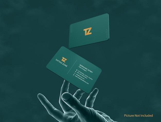 Elegant modern rond vliegend visitekaartje mockup