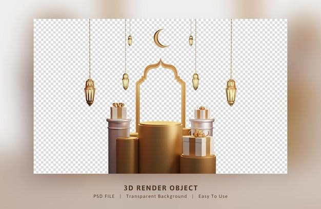 Elegant ramadan mubarak-decoratie gouden arabisch lantaarnfestival met geschenkdoos