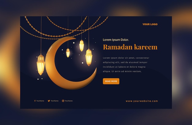 Elegant ramadan mubarak-decoratie gouden arabisch lantaarnfestival