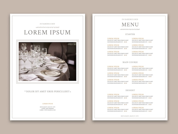 Elegant restaurantmenu
