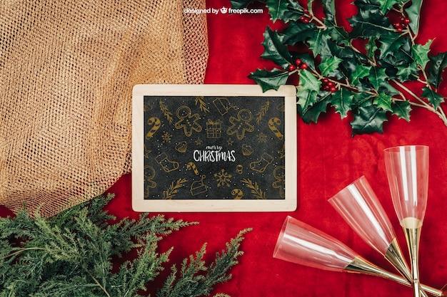 Elegant schoolbordmodel met christmtas-ontwerp