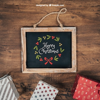 Elegant schoolbordmodel met christmtasontwerp
