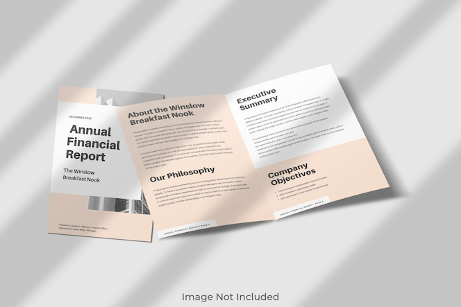 Elegant tweevoudig brochuremodel met schaduw
