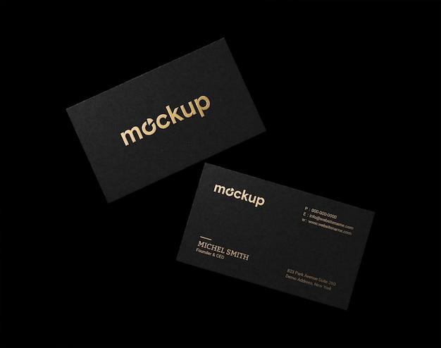 Elegant visitekaartje mockup met goudfolie