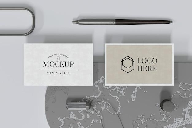 Elegant visitekaartje mockup-ontwerp in 3d-rendering