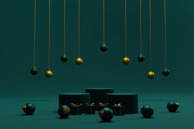 Elegante 3d kerstachtergrond met podium voor productpresentatie