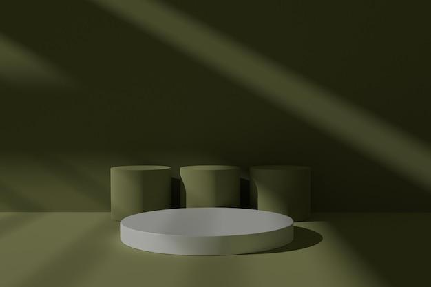 Elegante 3d podiumscène met abstracte schaduw