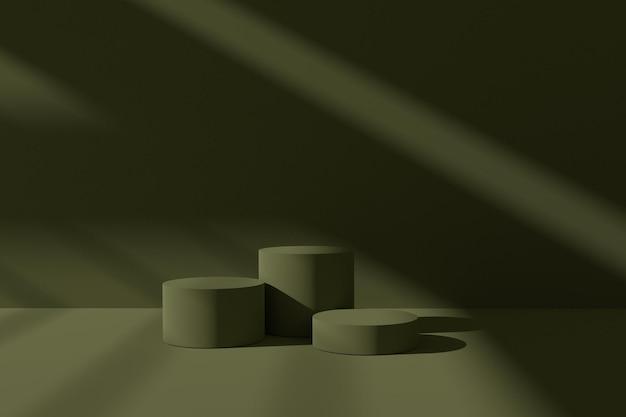Elegante 3d render podiumscène met abstracte schaduw