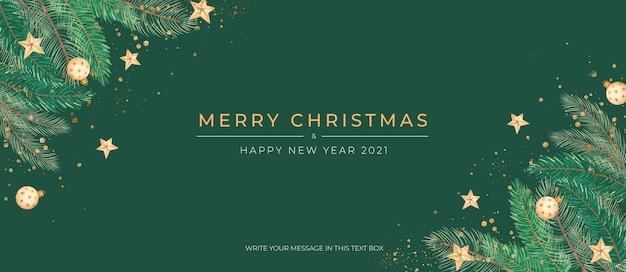Elegante banner navideño verde con adornos dorados