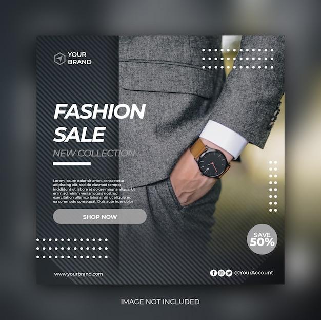 Elegante banner de venta de moda o folleto cuadrado para plantilla de publicación en redes sociales