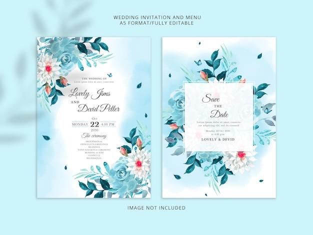 Elegante blauwe bloemenhuwelijksuitnodigingskaart premium psd