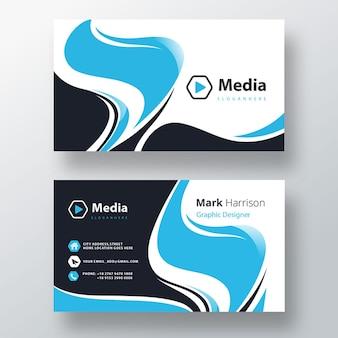 Elegante blauwe psd-sjabloon voor visitekaartjes
