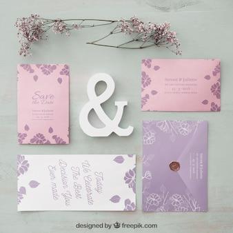Elegante bruiloft uitnodiging mockup